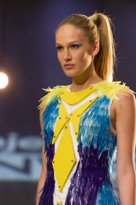 Dress made from plastic rulers